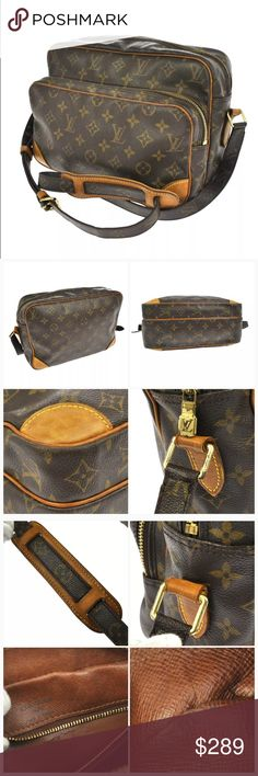 💯 Authentic Louis Vuitton Nile crossbody bag 100% Authentic. Great vintage.  Very spacious and practical.  Made in France in January, 2002. Date code: AR0012. Good vintage condition.  Leather trim has darkened with time.  Monogram canvas is intact.  Inside is clean - there is a small rip by the zipper (pic.3)  Measurements: 11W x 7.9H x 4.9D inches Straps: 16.9-20.9 inches adjustable.  It's a vintage bag. Don't expect perfection :-) Louis Vuitton Bags Crossbody Bags