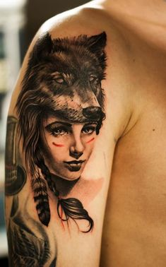 http://tattooideas247.com/little-red/ Little Red Riding Hood Tattoo #Feather, #Indian, #Wolf, #WolfHat