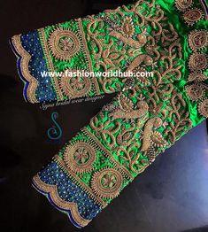 Mind blowing Maggam work blouse designs by Sajna bridal wear designer! Blouse Back Neck Designs, Hand Work Blouse Design, Blouse Designs Silk, Designer Blouse Patterns, Aari Work Blouse, Wedding Saree Blouse Designs, Pattu Saree Blouse Designs, Wedding Blouses, Magam Work Blouses