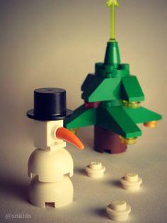 Kids lego xmas tree and snowman