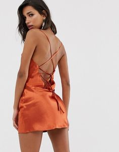 Find the best selection of ASOS DESIGN cami mini slip dress in high shine satin with lace up back. Shop today with free delivery and returns (Ts&Cs apply) with ASOS! Lace Back Dresses, Unique Prom Dresses, Dress Backs, Short Dresses, Cute Concert Outfits, Snapchat, Girls In Mini Skirts, Mini Slip Dress, Maxi Styles