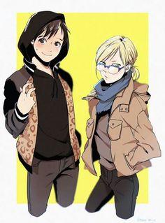 Yurio looks so much cooler in Yuri's clothes. Yuri just looks like a loser when he wears them • Yuri Katsuki// Yurio Plisetsky// Yuri On Ice//