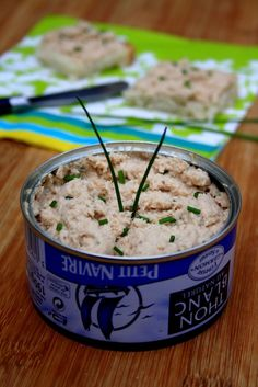 Tuna rillettes with chives - Fruits de mer Apéritifs - Sardline Seafood Appetizers, Great Appetizers, Appetizer Recipes, Healthy Sauces, Healthy Recipes, Healthy Dinners, Tapas, Sardine Recipes, Oven Vegetables