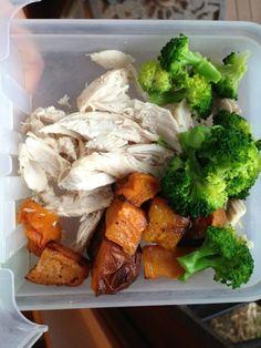 chicken breast, steam broccoli, roasted sweet potatoes