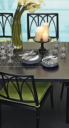 Welcome dinner guests with the elegance and exuberance of our Wilshire Dining Collection. | Frontgate: Live Beautifully Outdoors