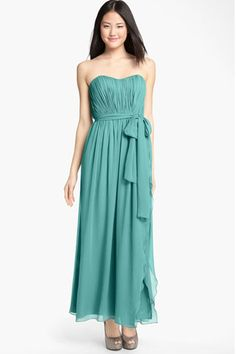 2012 New Hot style Flowing A line Sweetheart Full-length Ruched Chiffon Bridesmaid Dress