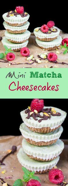 Vegan Mini Matcha Cheesecakes