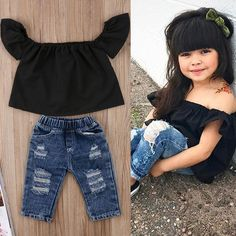 USA Toddler Kids Baby Girls Off Shoulder Tops Denim Jeans Pants Outfits Clothes - May 04 2019 at Baby Outfits, Outfits Niños, Little Girl Outfits, Little Girl Fashion, Toddler Fashion, Toddler Outfits, Kids Outfits, Kids Fashion, Fashion Games