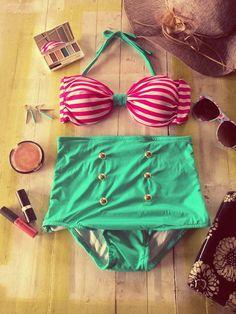 Retro Vintage Style Highwaist Bikini Set by MissSassysBoutique, $49.99