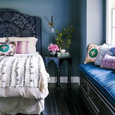 Purple and navy bedroom   ways to decorate with patterns via Sunset.com