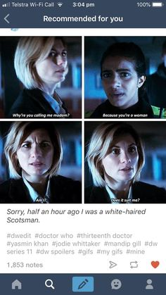 I'm so relieved that 13 looks better in the episode clip than the trailers. those trailers honestly put me off the whole season. All Doctor Who, Doctor Who Funny, Saga, 13th Doctor, Out Of Touch, Fandoms, Don't Blink, Torchwood, Geronimo