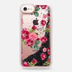 Casetify iPhone 7 Liquid Glitter Case - Sweet Pink Floral (transparent) by Lisa Argyropoulos