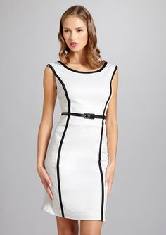 SANDRA DARREN  Belted Trim Detail Dress