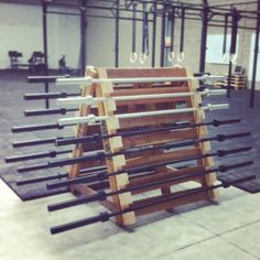 Homemade barbells storage, made with #pallets, at CrossFit Nivelles (http://www.crossfitnivelles.com)