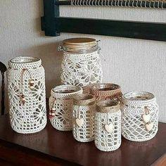 Crochet Chart, Crochet Motif, Crochet Designs, Crochet Doilies, Crochet Mug Cozy, Crochet Home, Crochet Gifts, Mason Jar Crafts, Mason Jar Diy