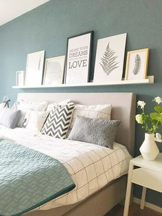 A new bed! - A new bed! – HomebySoph # bedroom colors A new bed! Bedroom Green, Bedroom Colors, Dream Bedroom, Home Bedroom, Master Bedroom, Bedroom Decor, Bedroom Wall, Master Suite, New Beds