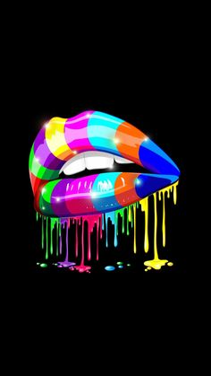 ♥️ Lick'm ♥️ Pop Art Wallpaper, Rainbow Wallpaper, Trippy Wallpaper, Wallpaper Backgrounds, Iphone Wallpaper, Pop Art Lips, Desenho Pop Art, Graffiti Characters, Lgbt Love