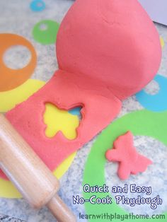 This makes the best playdough ever!! Quick, easy, no cooking required and lasts for months and months in an airtight bag or container.