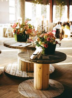 Spool tables for rustic wedding decor Chic Wedding, Wedding Table, Fall Wedding, Rustic Wedding, Our Wedding, Dream Wedding, Trendy Wedding, Spool Tables, Dining Tables