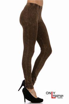 Acid Wash Black Denim Leggings | OnlyLeggings.com