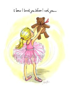 Ballerina and Teddy Bear art - Gift for the expectant mother – Phyllis Harris Designs