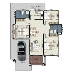 3 Concepts of Bungalow House - House And Decors Modern House Floor Plans, My House Plans, Garage House Plans, Family House Plans, Bungalow Haus Design, Modern Bungalow House, Bungalow House Plans, 3 Storey House Design, Sims House Design