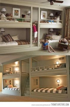 bedroom for basement. Extra beds for forts, reading nook and sleepovers so cool !