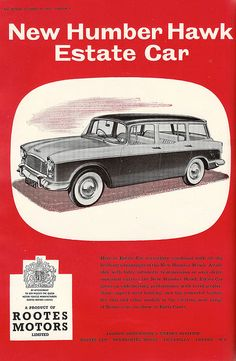 Humber Hawk estate car - advert issued by Rootes Motors, Coventry - 1957 by mikeyashworth, via Flickr