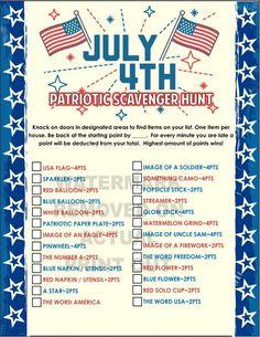 of July Scavenger Hunt Game — PartyGamesPlus 4th Of July Celebration, 4th Of July Party, July 4th, 4th Of July Events, 4th Of July Camping, 4th Of July Games, 4th Of July Ideas, Fourth Of July Crafts For Kids, Deco Gamer