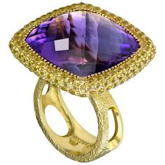 Alex Soldier - Amethyst Yellow Sapphires Royal Gold Cocktail Ring | The Royal Collection is inspired by an intricate mosaic of royal palaces around the world. From exotic Marrakesh and colorful Barcelona, to the magical islands of Greece, it reminds us that we're all descendants of kings. Handmade in NYC. One of a kind.  Amethyst  25.3 ct. - yellow Sapphires: 135 stones, 2.7 ct.