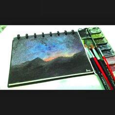 Night Sky , Langit Malam. Watercolor