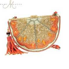 Mary Frances Squeeze Me Orange Citrus Slice Gold Purse Bag Handbag Sp 2015 NEW
