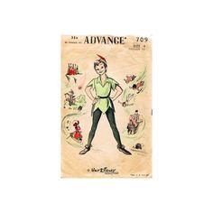 1950s Disney Peter Pan Pattern Advance 709 Jerkin Hat Tights Size  4 Child Disneyana Vintage Sewing Pattern