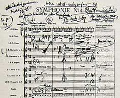 Mengelberg's marked copy of the first page of the score of Mahler's 4th Symphony
