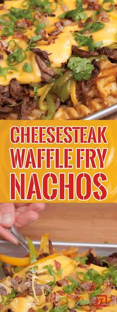 {carne con papas}Take your nachos to the next level with Food Steez's Philly cheesesteak waffle fries nachos. Load up waffle fries with flank steak, peppers, onions, and top it off with a homemade cheese sauce for some nacho average nachos. Steak Nachos, Beef Recipes, Mexican Food Recipes, Cooking Recipes, Nacho Recipes, Skillet Recipes, Cooking Tools, Mexican Cooking, Cooking Gadgets