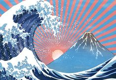 Nature Paintings, Landscape Paintings, Hokusai Artwork, Hokusai Great Wave, Wave Drawing, Frida Art, Japanese Cat, Wave Art, Japanese Graphic Design