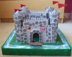 Emy's Crafty Blog: Cardboard box castles  (My 3M's class did these for years, but to scale!!)