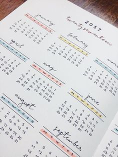 Year at a glance calendar spread.