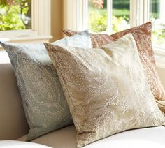 Jordana Paisley Pillow Cover, 24- this one neutral plus 3 in the terracotta - use down inserts from decorator's mart