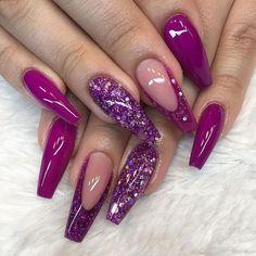 Sexy Nails, Dope Nails, Fancy Nails, Purple Acrylic Nails, Best Acrylic Nails, Purple Glitter Nails, Purple And Silver Nails, Magenta Nails, Cute Acrylic Nail Designs