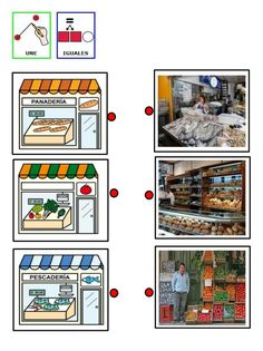 4.asociar dibujo de tienda con imagen real