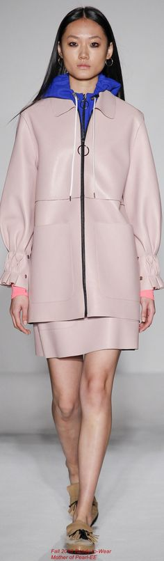 Mother of Pearl F-16 RTW: rose quartz ensemble, cobalt hoodie.