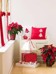 Red & White Christmas Pillows     Pillows add instant personality to any room. And handmade pillows like these are sure to be used for the holidays year after year. Our tree pillows were done in red-and-white, but you can use different color felts to match your style