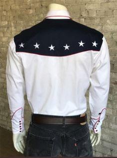 37519d07 Rockmount Ranch Wear Mens Vintage Western Flag Shirt Back on Mannequin Flag  Shirt, Western Shirts