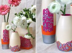 Texture painted vases  !  Use puffy paint to make fun patterns and designs.