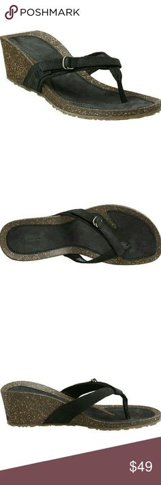 TEVA Ventura Thong Wedge Sandal 4219 4219 Combining soft materials, simple beauty and clean lines, this sandal takes you from the workplace to in front of the cabin fireplace in effortless style. Rich leather thong design with pigskin lining for comfort. Leather topsole with luxury step in feel. Cork wrapped compression molded EVA midsole for cushioning. Tried on indoors.  Size 9 US, 40 EUR, 7.5 UK  +New without box  +Cover shot is stock photo  +Always open to offers  +Remember to BUNDLE…