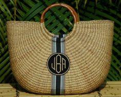 Monogrammed Large Half Moon Straw Basket