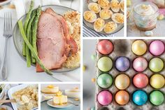 A six-image collage of recipes you can make in your Instant Pot this Easter, featuring a large photo of sliced spiral ham and asparagus and a large photo of dyed Easter eggs in several shimmering colors. Smaller photos appear underneath the ham featuring a wooden spoon holding potatoes au gratin and a white plate with a serving of Lemon Cheesecake. Above the Easter eggs are two smaller photos of Zesty Deviled Eggs and a mini mason jar with mini Easter Cheesecakes with malted-milk Robin Eggs spri Easter Recipes, Egg Recipes, Side Dish Recipes, Holiday Recipes, Best Mashed Potatoes, Potatoes Au Gratin, Pressure Cooker Artichokes, Pressure Cooking Today, Malted Milk