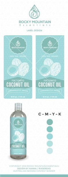 Rocky Mountain Essentials - Fractionated Coconut Oil Label - Winning Design