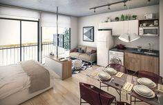 Minimalist Apartment Design With Maximal Functionality 13 Cozy Studio Apartment, Small Studio Apartments, Studio Apartment Decorating, Apartment Interior Design, Furniture For Small Apartments, Small Apartment Layout, 1 Bedroom Apartment, Deco Studio, Studio Room